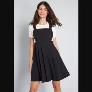 Modcloth Jumper Right In Pinafore Black Dress